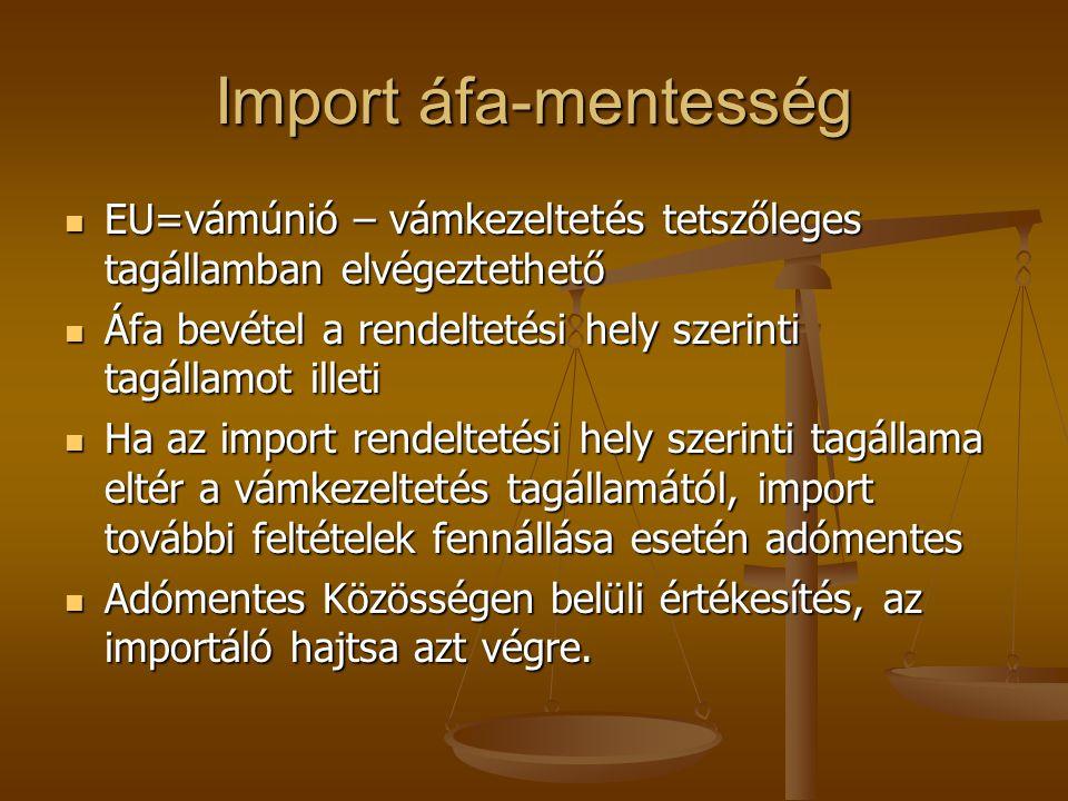 Ideiglenes kivitel mentessége Ideiglenesen kivitt és visszahozott termék importja adómentes, feltéve hogy Ideiglenesen kivitt és visszahozott termék importja adómentes, feltéve hogy Kivitelt kérő adóalany részére Kivitelt kérő adóalany részére Változatlan állapotban érkezik Változatlan állapotban érkezik Vámmentesség vonatkozik rá Vámmentesség vonatkozik rá Pl: kiállítandó termék, szállítással külföldre kerülő raklapok, garanciális kötelezettség keretében történő javítás Pl: kiállítandó termék, szállítással külföldre kerülő raklapok, garanciális kötelezettség keretében történő javítás