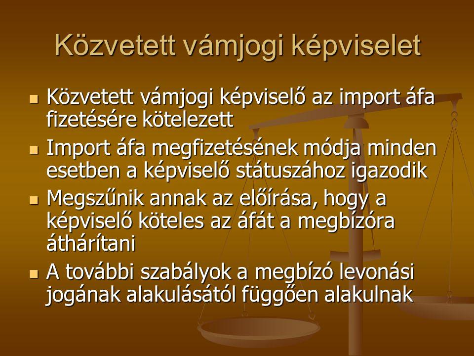 Közvetett vámjogi képviselet Közvetett vámjogi képviselő az import áfa fizetésére kötelezett Közvetett vámjogi képviselő az import áfa fizetésére köte