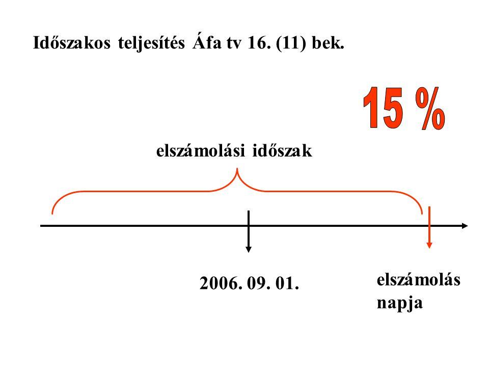 2006. 09. 01. elszámolás napja Időszakos teljesítés Áfa tv 16. (11) bek. elszámolási időszak