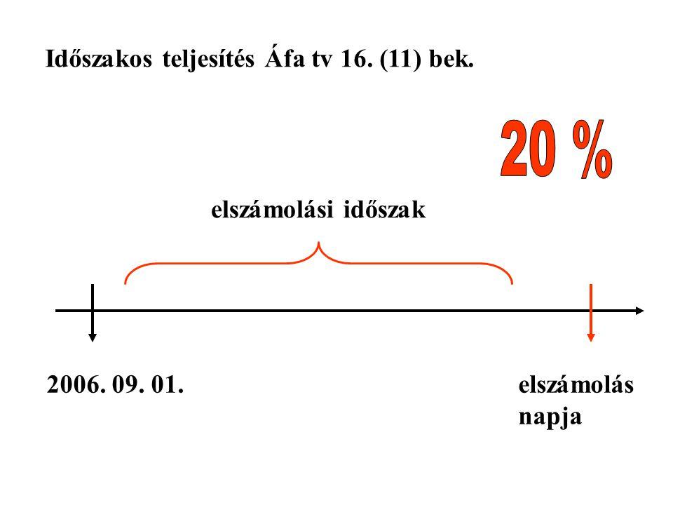 2006. 09. 01.elszámolás napja Időszakos teljesítés Áfa tv 16. (11) bek. elszámolási időszak