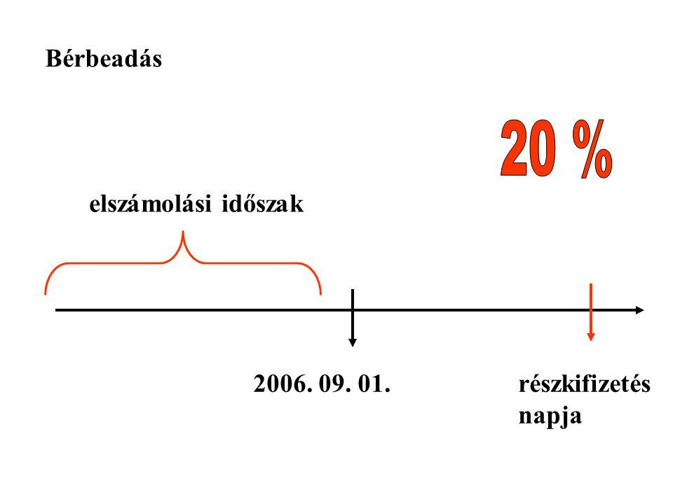2006. 09. 01.részkifizetés napja Bérbeadás elszámolási időszak