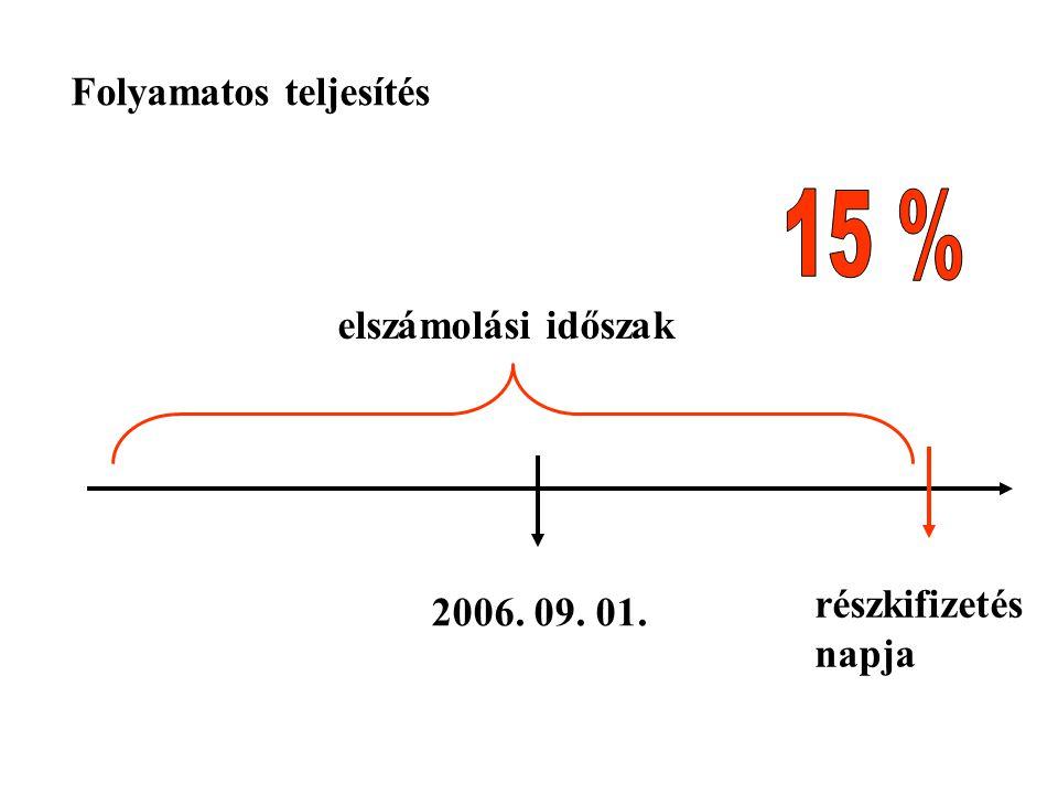 2006. 09. 01. részkifizetés napja Folyamatos teljesítés elszámolási időszak