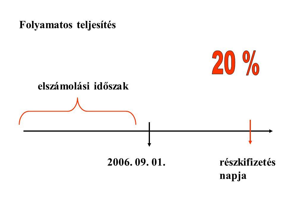 2006. 09. 01.részkifizetés napja Folyamatos teljesítés elszámolási időszak