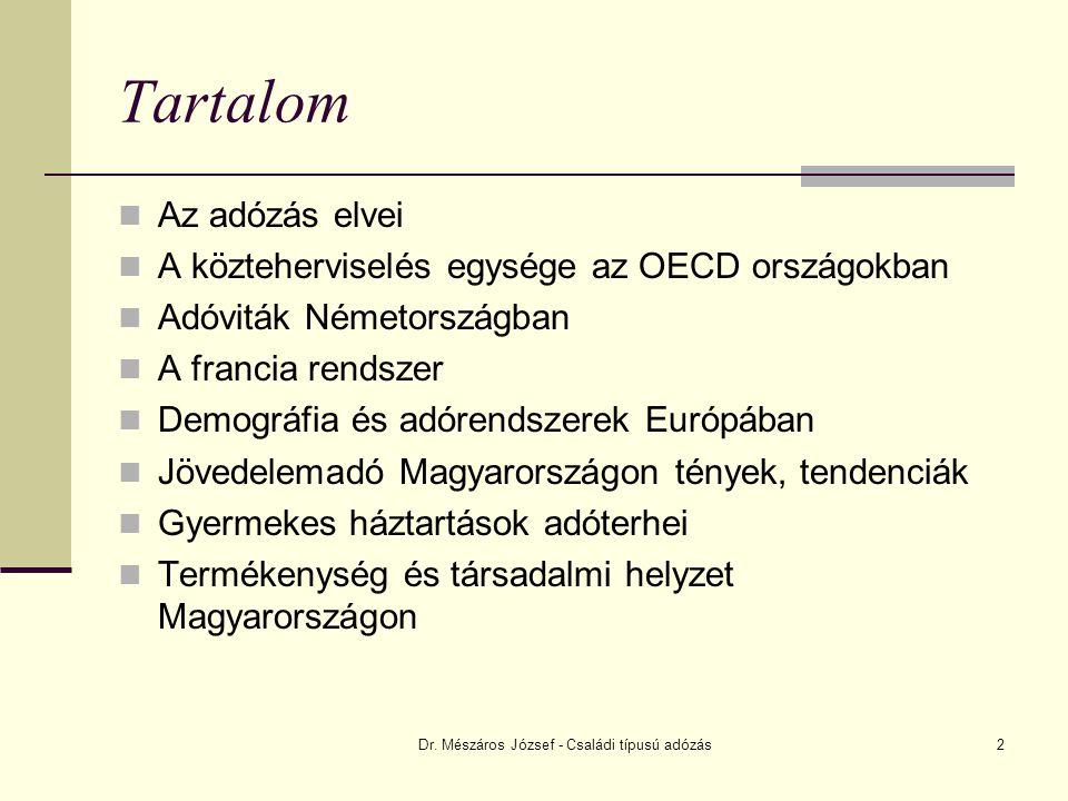 Dr. Mészáros József - Családi típusú adózás2 Tartalom Az adózás elvei A közteherviselés egysége az OECD országokban Adóviták Németországban A francia