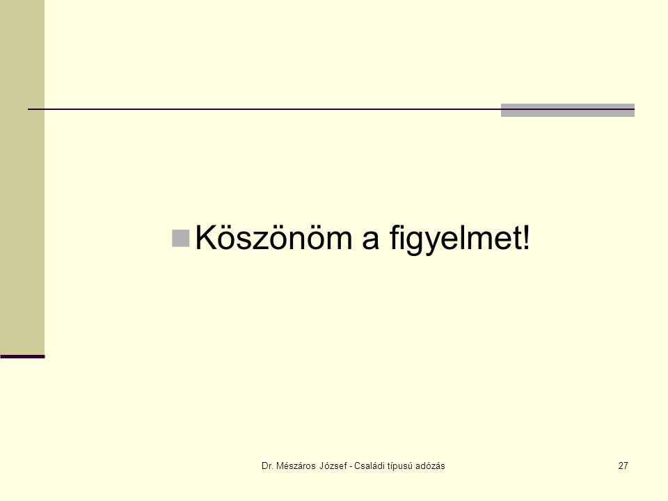 Dr. Mészáros József - Családi típusú adózás27 Köszönöm a figyelmet!