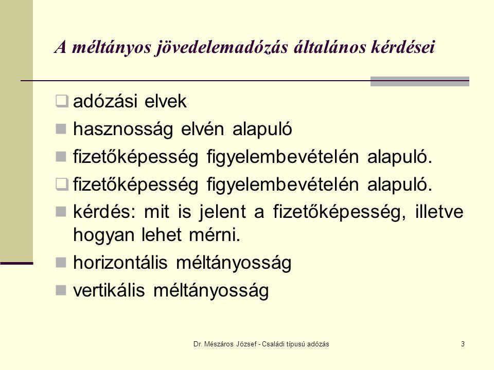 Dr. Mészáros József - Családi típusú adózás3 A méltányos jövedelemadózás általános kérdései  adózási elvek hasznosság elvén alapuló fizetőképesség fi