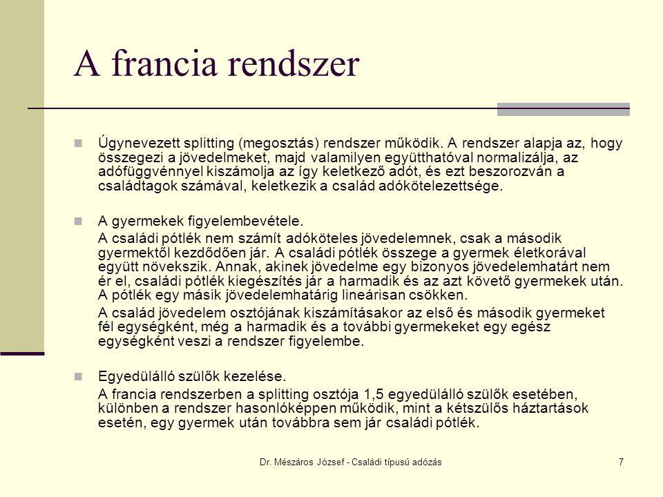Dr. Mészáros József - Családi típusú adózás7 A francia rendszer Úgynevezett splitting (megosztás) rendszer működik. A rendszer alapja az, hogy összege