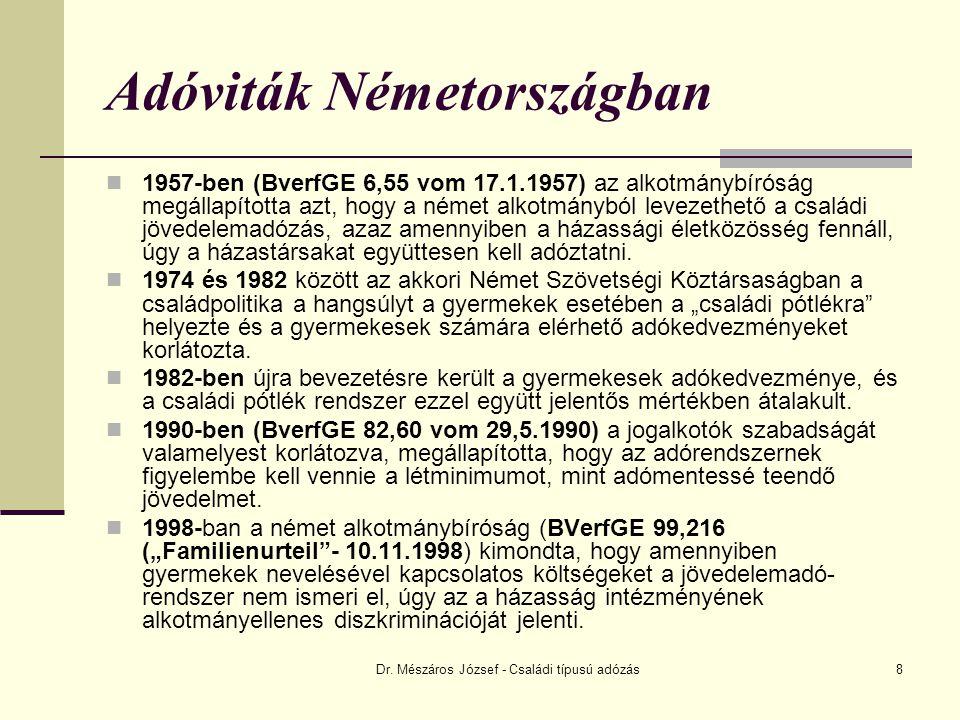 Dr. Mészáros József - Családi típusú adózás8 Adóviták Németországban 1957-ben (BverfGE 6,55 vom 17.1.1957) az alkotmánybíróság megállapította azt, hog