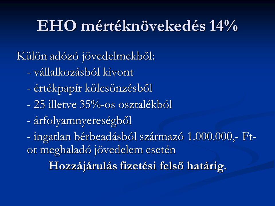 Hozzájárulás fizetési felső határ A megfizetett EB járulék, EÜ szolgáltatási járulék %-os mértékű EHO összességében a 450.000,- Ft-ot eléri.