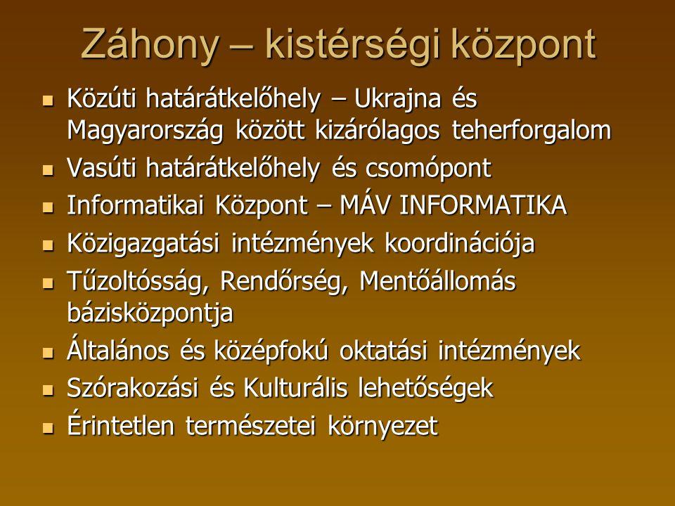 Záhony – kistérségi központ Közúti határátkelőhely – Ukrajna és Magyarország között kizárólagos teherforgalom Közúti határátkelőhely – Ukrajna és Magy