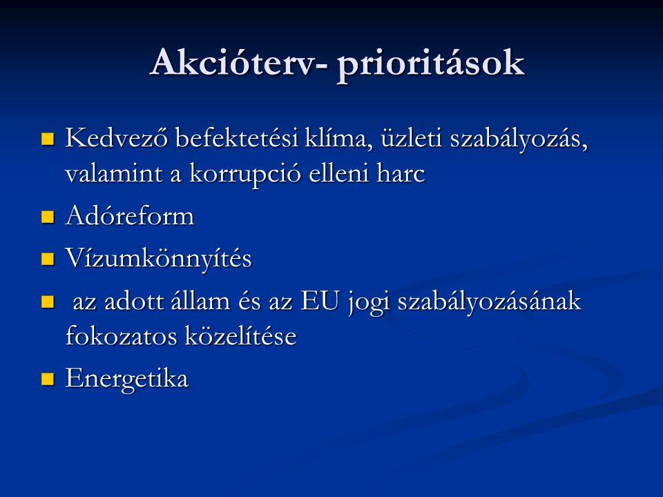 Akcióterv- prioritások Akcióterv- prioritások Kedvező befektetési klíma, üzleti szabályozás, valamint a korrupció elleni harc Kedvező befektetési klíma, üzleti szabályozás, valamint a korrupció elleni harc Adóreform Adóreform Vízumkönnyítés Vízumkönnyítés az adott állam és az EU jogi szabályozásának fokozatos közelítése az adott állam és az EU jogi szabályozásának fokozatos közelítése Energetika Energetika