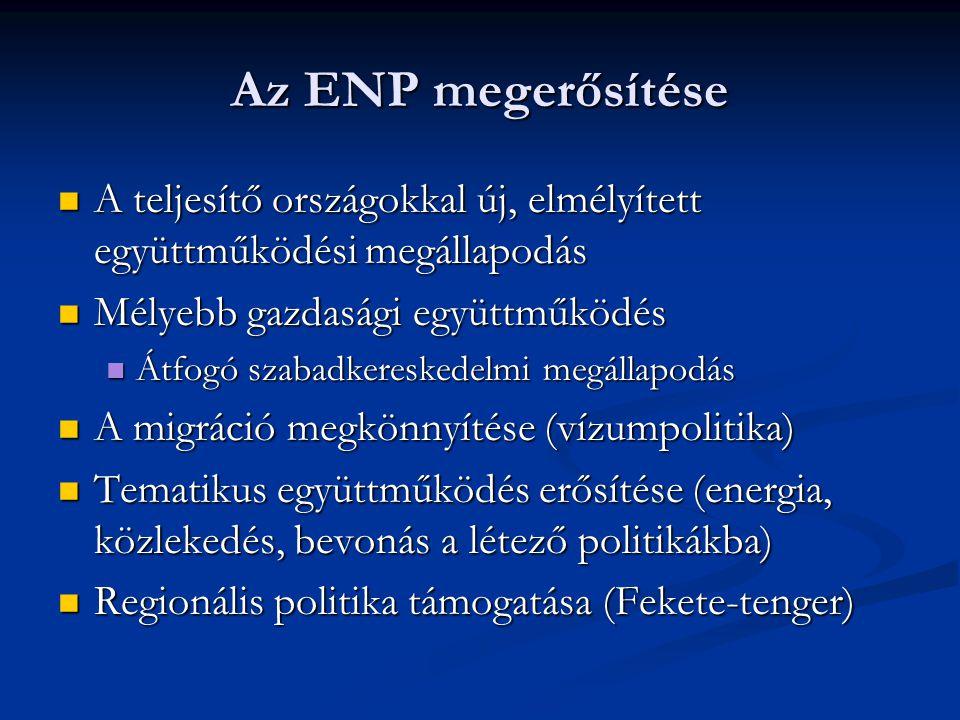 Az ENP megerősítése A teljesítő országokkal új, elmélyített együttműködési megállapodás A teljesítő országokkal új, elmélyített együttműködési megállapodás Mélyebb gazdasági együttműködés Mélyebb gazdasági együttműködés Átfogó szabadkereskedelmi megállapodás Átfogó szabadkereskedelmi megállapodás A migráció megkönnyítése (vízumpolitika) A migráció megkönnyítése (vízumpolitika) Tematikus együttműködés erősítése (energia, közlekedés, bevonás a létező politikákba) Tematikus együttműködés erősítése (energia, közlekedés, bevonás a létező politikákba) Regionális politika támogatása (Fekete-tenger) Regionális politika támogatása (Fekete-tenger)