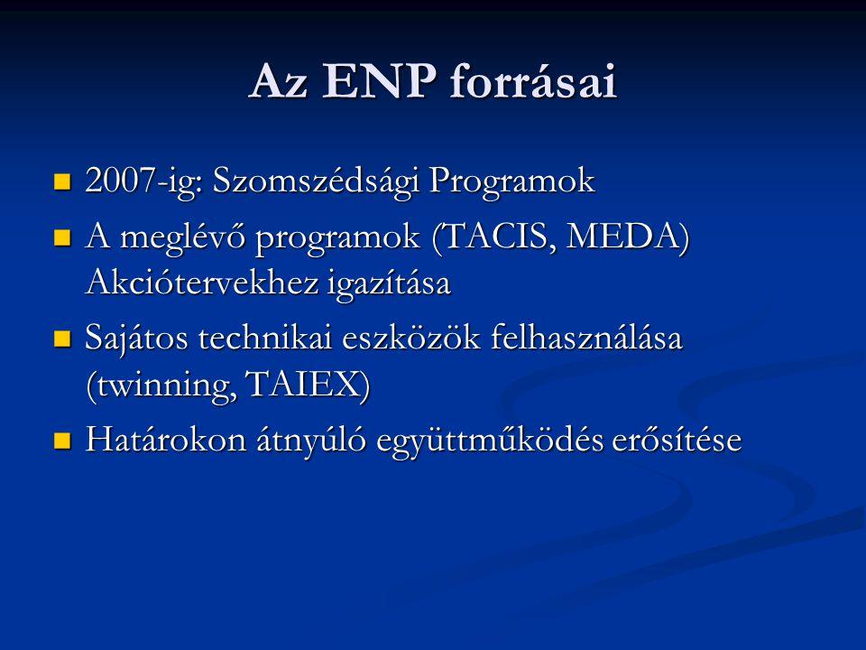 Az ENP forrásai 2007-ig: Szomszédsági Programok 2007-ig: Szomszédsági Programok A meglévő programok (TACIS, MEDA) Akciótervekhez igazítása A meglévő programok (TACIS, MEDA) Akciótervekhez igazítása Sajátos technikai eszközök felhasználása (twinning, TAIEX) Sajátos technikai eszközök felhasználása (twinning, TAIEX) Határokon átnyúló együttműködés erősítése Határokon átnyúló együttműködés erősítése