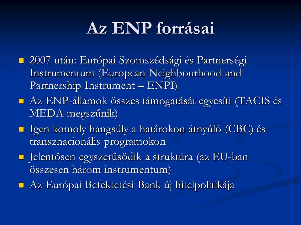 Az ENP forrásai 2007 után: Európai Szomszédsági és Partnerségi Instrumentum (European Neighbourhood and Partnership Instrument – ENPI) 2007 után: Európai Szomszédsági és Partnerségi Instrumentum (European Neighbourhood and Partnership Instrument – ENPI) Az ENP-államok összes támogatását egyesíti (TACIS és MEDA megszűnik) Az ENP-államok összes támogatását egyesíti (TACIS és MEDA megszűnik) Igen komoly hangsúly a határokon átnyúló (CBC) és transznacionális programokon Igen komoly hangsúly a határokon átnyúló (CBC) és transznacionális programokon Jelentősen egyszerűsödik a struktúra (az EU-ban összesen három instrumentum) Jelentősen egyszerűsödik a struktúra (az EU-ban összesen három instrumentum) Az Európai Befektetési Bank új hitelpolitikája Az Európai Befektetési Bank új hitelpolitikája
