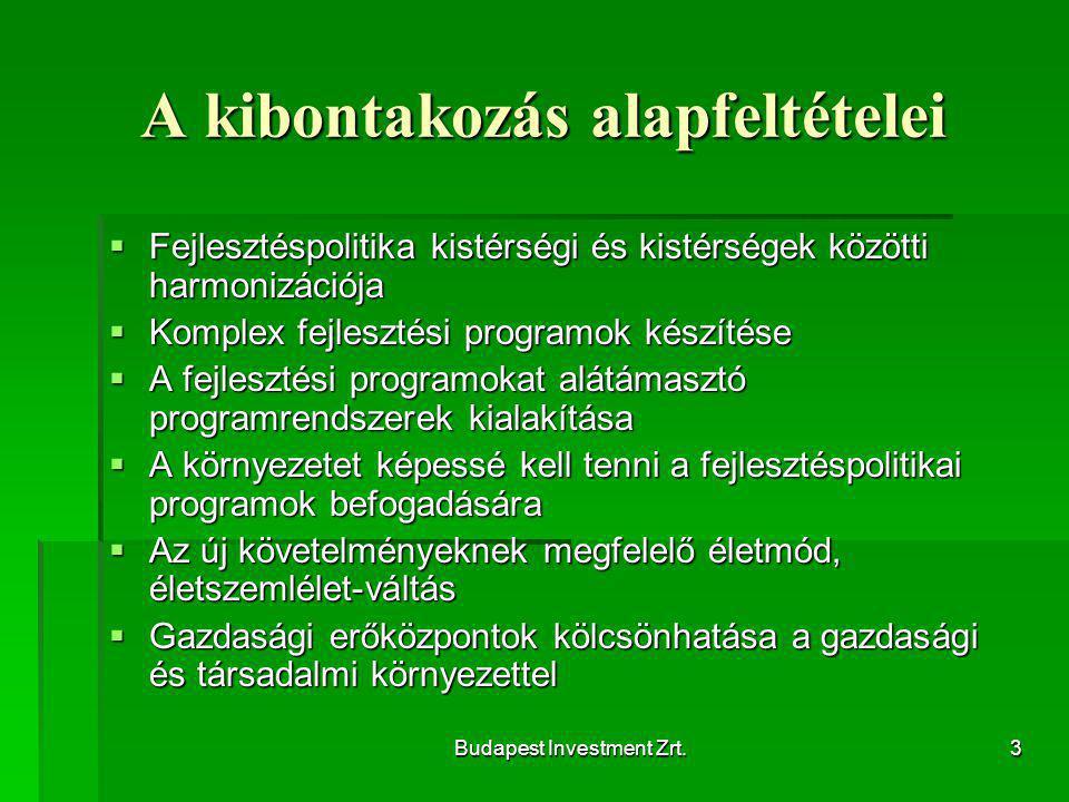 Budapest Investment Zrt.3 A kibontakozás alapfeltételei  Fejlesztéspolitika kistérségi és kistérségek közötti harmonizációja  Komplex fejlesztési programok készítése  A fejlesztési programokat alátámasztó programrendszerek kialakítása  A környezetet képessé kell tenni a fejlesztéspolitikai programok befogadására  Az új követelményeknek megfelelő életmód, életszemlélet-váltás  Gazdasági erőközpontok kölcsönhatása a gazdasági és társadalmi környezettel