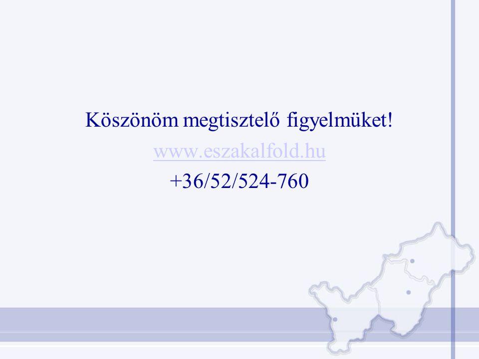 Köszönöm megtisztelő figyelmüket! www.eszakalfold.hu +36/52/524-760