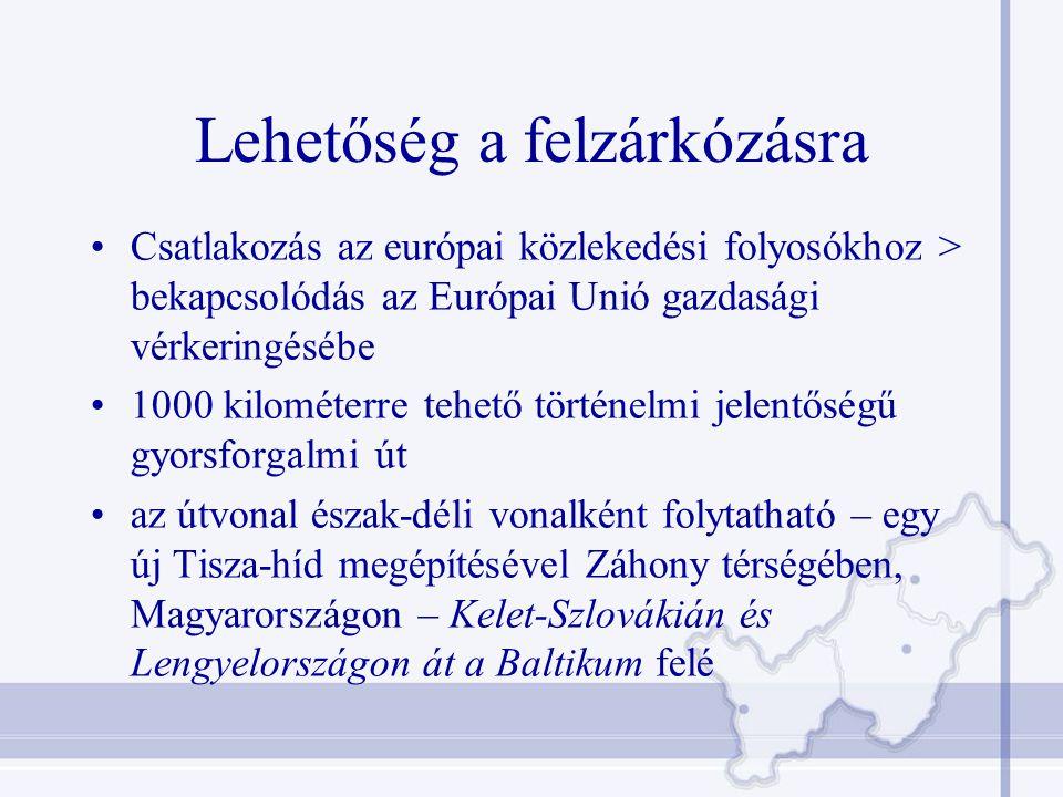 Lehetőség a felzárkózásra Csatlakozás az európai közlekedési folyosókhoz > bekapcsolódás az Európai Unió gazdasági vérkeringésébe 1000 kilométerre tehető történelmi jelentőségű gyorsforgalmi út az útvonal észak-déli vonalként folytatható – egy új Tisza-híd megépítésével Záhony térségében, Magyarországon – Kelet-Szlovákián és Lengyelországon át a Baltikum felé