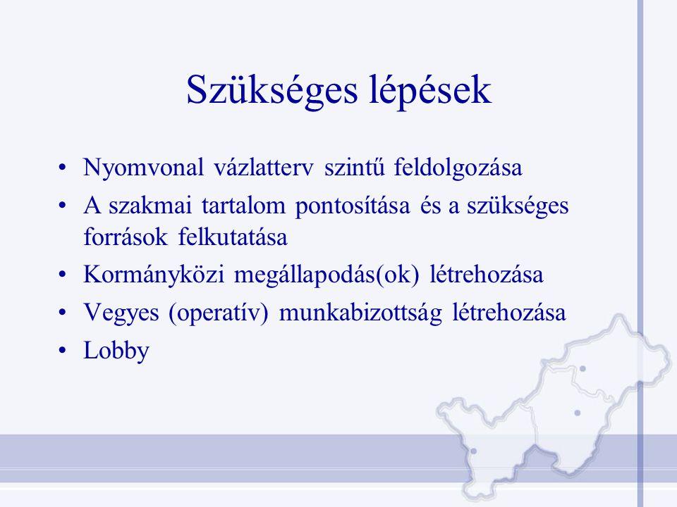 Szükséges lépések Nyomvonal vázlatterv szintű feldolgozása A szakmai tartalom pontosítása és a szükséges források felkutatása Kormányközi megállapodás(ok) létrehozása Vegyes (operatív) munkabizottság létrehozása Lobby