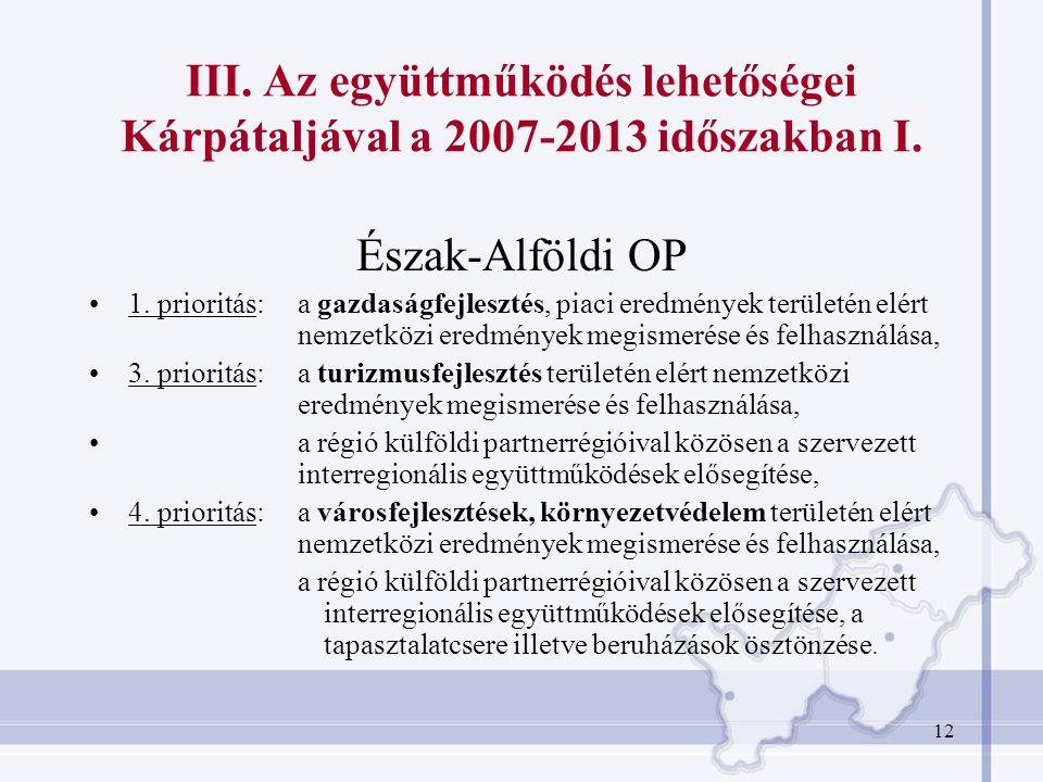 12 III. Az együttműködés lehetőségei Kárpátaljával a 2007-2013 időszakban I. Észak-Alföldi OP 1. prioritás: a gazdaságfejlesztés, piaci eredmények ter