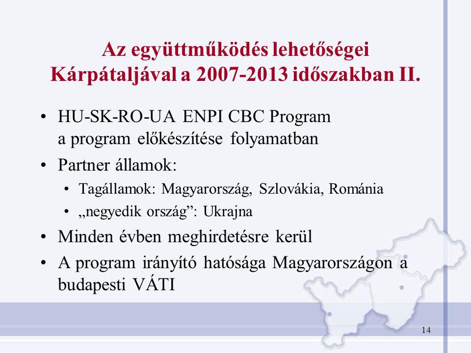 14 Az együttműködés lehetőségei Kárpátaljával a 2007-2013 időszakban II. HU-SK-RO-UA ENPI CBC Program a program előkészítése folyamatban Partner állam