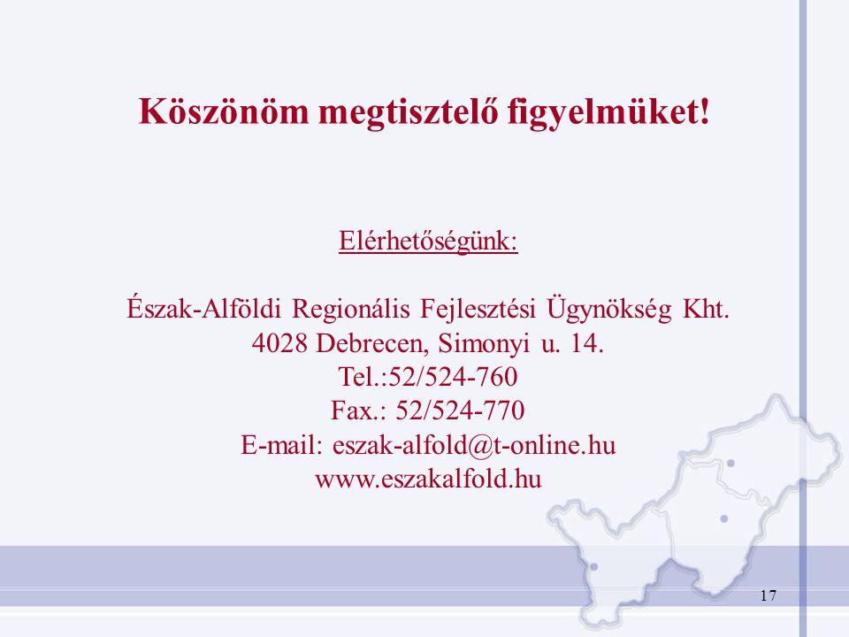 17 Köszönöm megtisztelő figyelmüket! Elérhetőségünk: Észak-Alföldi Regionális Fejlesztési Ügynökség Kht. 4028 Debrecen, Simonyi u. 14. Tel.:52/524-760