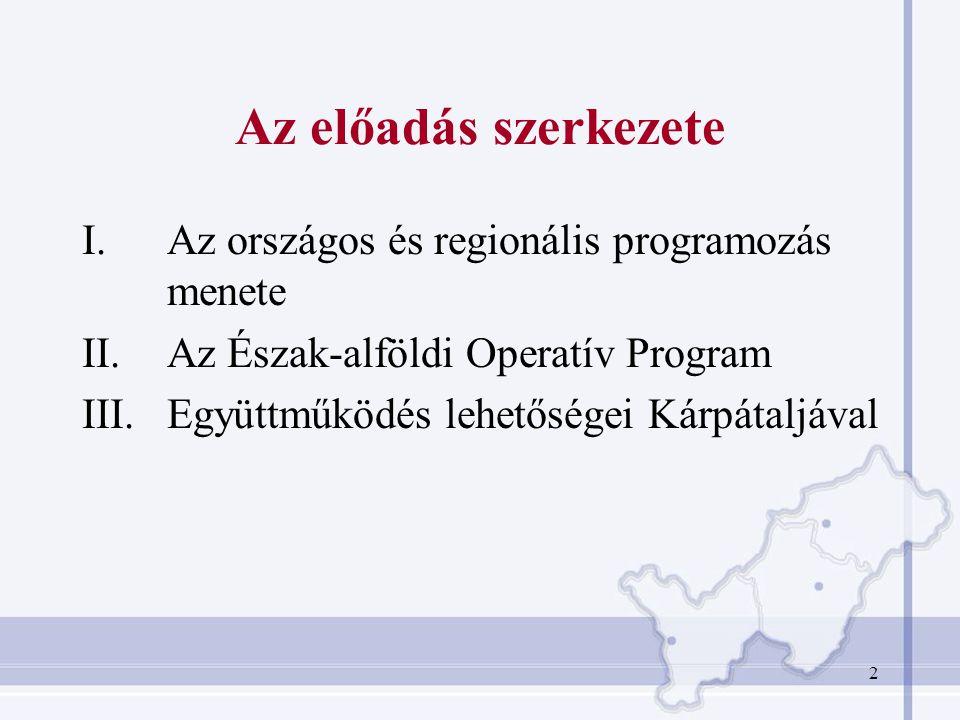 2 Az előadás szerkezete I.Az országos és regionális programozás menete II.Az Észak-alföldi Operatív Program III.Együttműködés lehetőségei Kárpátaljáva