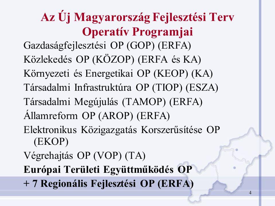 4 Az Új Magyarország Fejlesztési Terv Operatív Programjai Gazdaságfejlesztési OP (GOP) (ERFA) Közlekedés OP (KÖZOP) (ERFA és KA) Környezeti és Energet