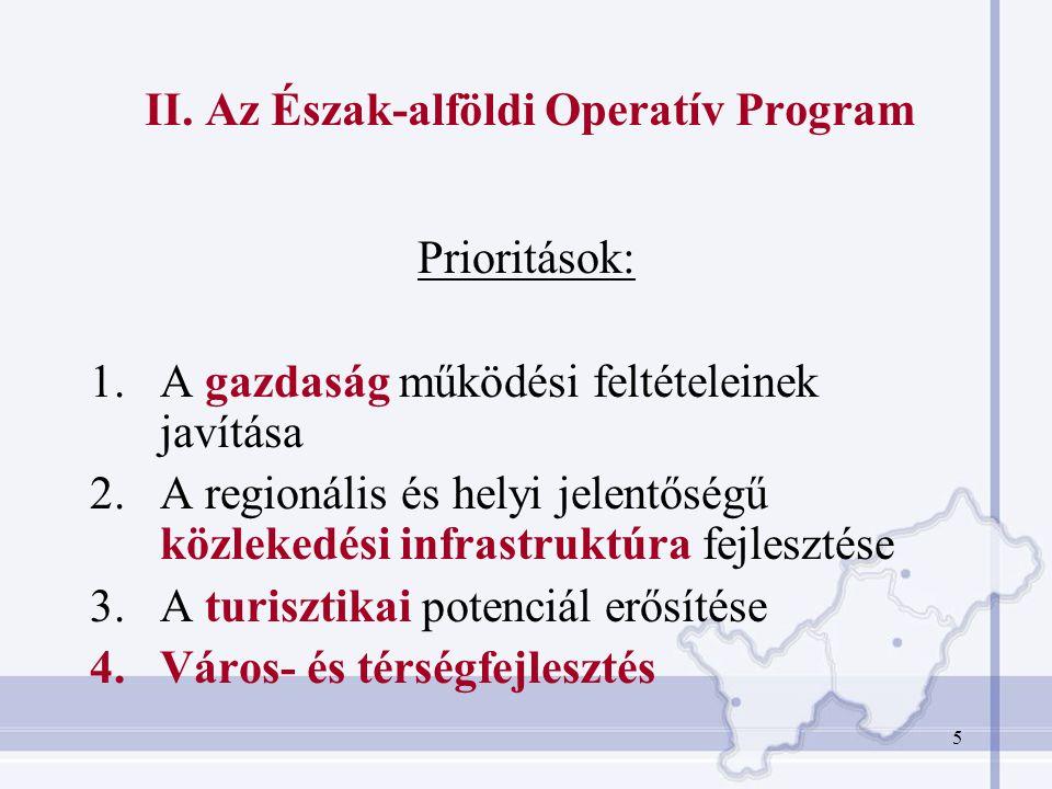 5 II. Az Észak-alföldi Operatív Program Prioritások: 1.A gazdaság működési feltételeinek javítása 2.A regionális és helyi jelentőségű közlekedési infr