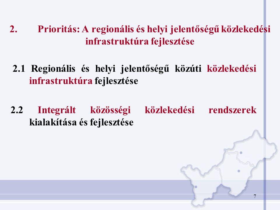 7 2.Prioritás: A regionális és helyi jelentőségű közlekedési infrastruktúra fejlesztése 2.1 Regionális és helyi jelentőségű közúti közlekedési infrast