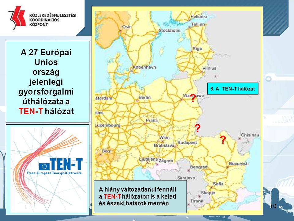 10 A 27 Európai Unios ország jelenlegi gyorsforgalmi úthálózata a TEN-T hálózat 6. A TEN-T hálózat A hiány változatlanul fennáll a TEN-T hálózaton is