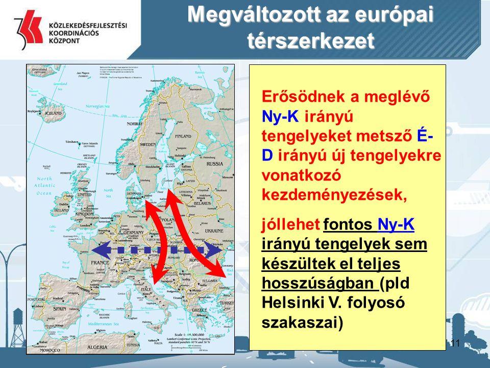 11 Megváltozott az európai térszerkezet Erősödnek a meglévő Ny-K irányú tengelyeket metsző É- D irányú új tengelyekre vonatkozó kezdeményezések, jóllehet fontos Ny-K irányú tengelyek sem készültek el teljes hosszúságban (pld Helsinki V.