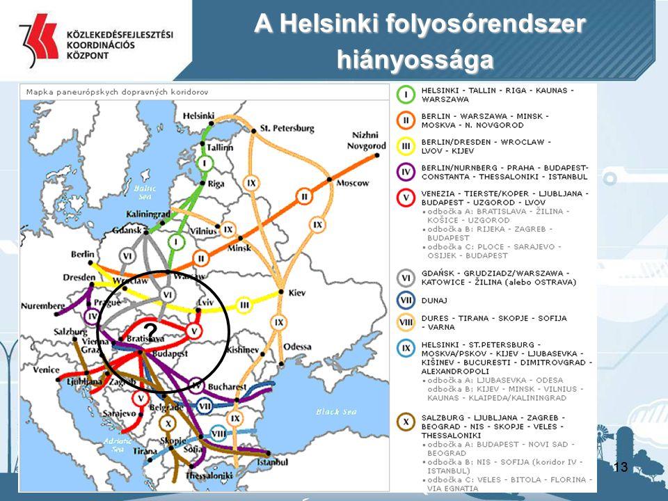 13 A Helsinki folyosórendszer A Helsinki folyosórendszerhiányossága ?