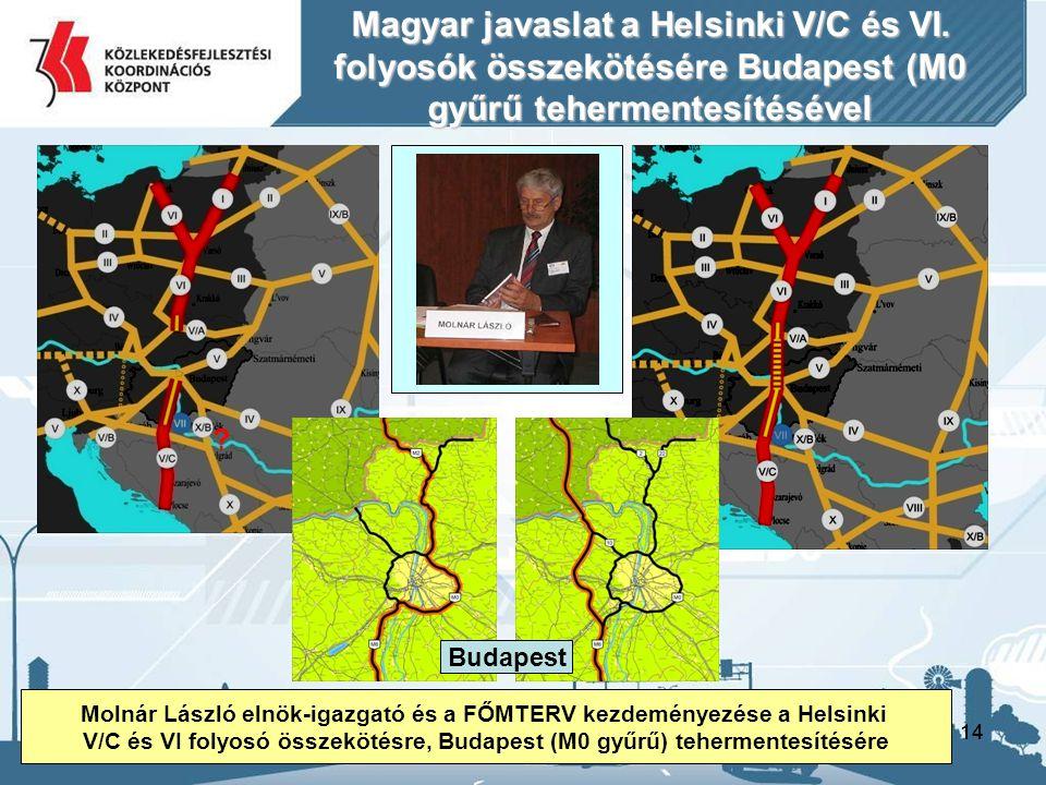 14 Magyar javaslat a Helsinki V/C és VI. folyosók összekötésére Budapest (M0 gyűrű tehermentesítésével ? Molnár László elnök-igazgató és a FŐMTERV kez