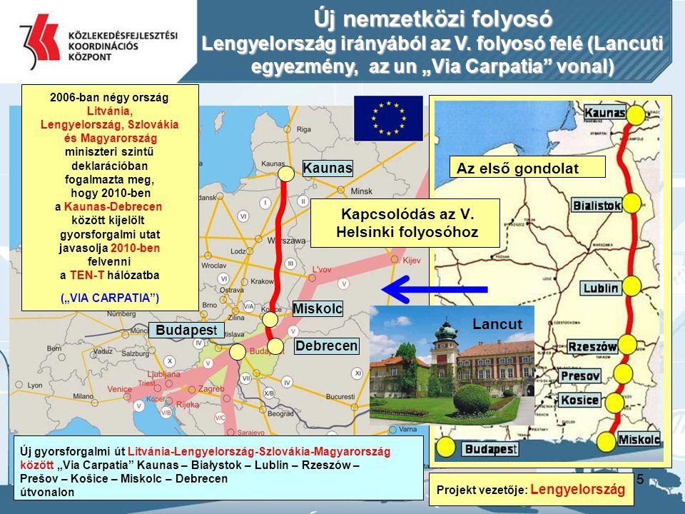 15 Kaunas Miskolc Budapest Új nemzetközi folyosó Lengyelország irányából az V.