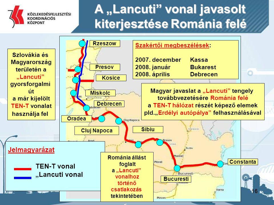 """16 Rzeszow Presov Kosice Miskolc Debrecen Oradea Cluj Napoca Sibiu Bucuresti Constanta A """"Lancuti vonal javasolt kiterjesztése Románia felé Jelmagyarázat TEN-T vonal """"Lancuti vonal Magyar javaslat a """"Lancuti tengely továbbvezetésére Románia felé a TEN-T hálózat részét képező elemek pld.""""Erdélyi autópálya felhasználásával Szakértői megbeszélések: 2007."""