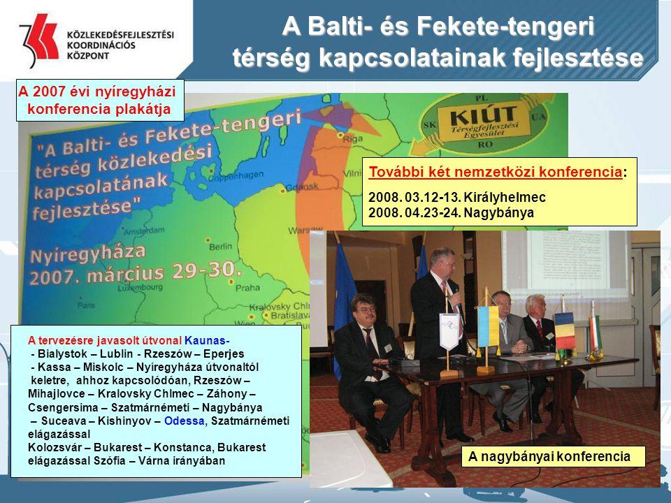 21 A Balti- és Fekete-tengeri térség kapcsolatainak fejlesztése A 2007 évi nyíregyházi konferencia plakátja A tervezésre javasolt útvonal Kaunas- - Bi
