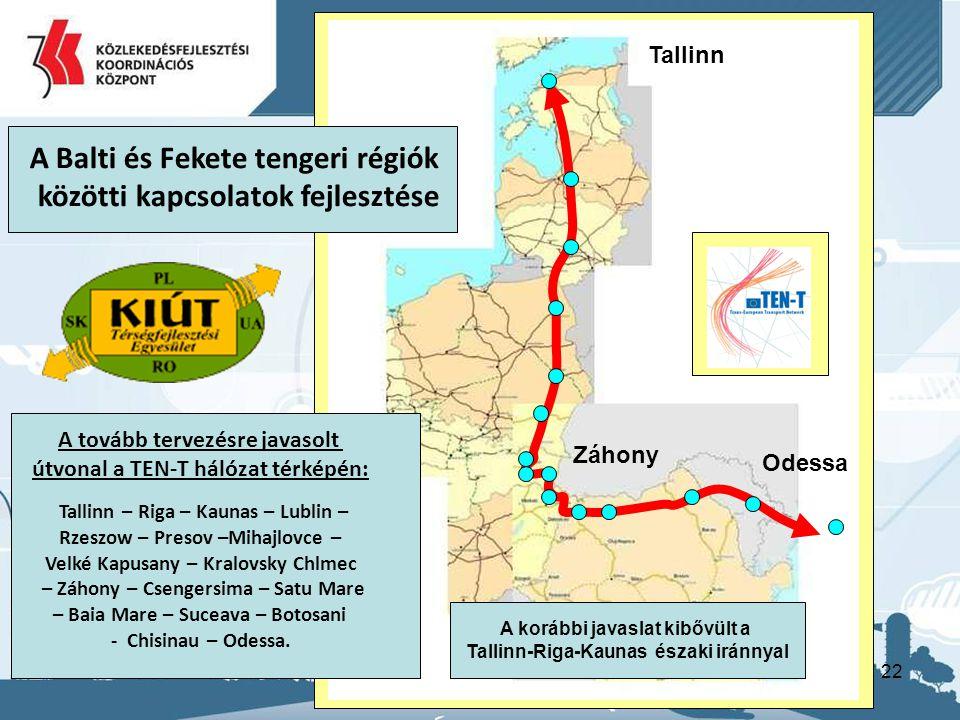 22 A tovább tervezésre javasolt útvonal a TEN-T hálózat térképén: Tallinn – Riga – Kaunas – Lublin – Rzeszow – Presov –Mihajlovce – Velké Kapusany – K
