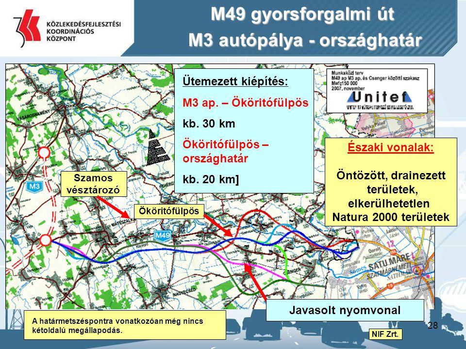 28 M49 gyorsforgalmi út M3 autópálya - országhatár M3 autópálya - országhatár A határmetszéspontra vonatkozóan még nincs kétoldalú megállapodás. Üteme