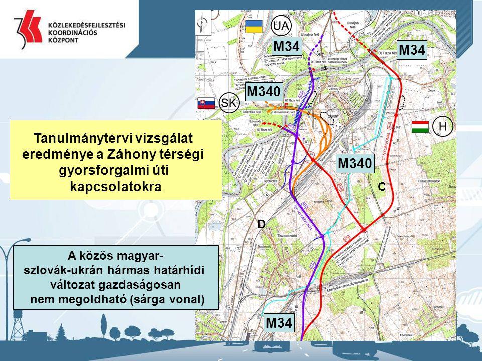 29 C D Tanulmánytervi vizsgálat eredménye a Záhony térségi gyorsforgalmi úti kapcsolatokra M34 M340 A közös magyar- szlovák-ukrán hármas határhídi változat gazdaságosan nem megoldható (sárga vonal)