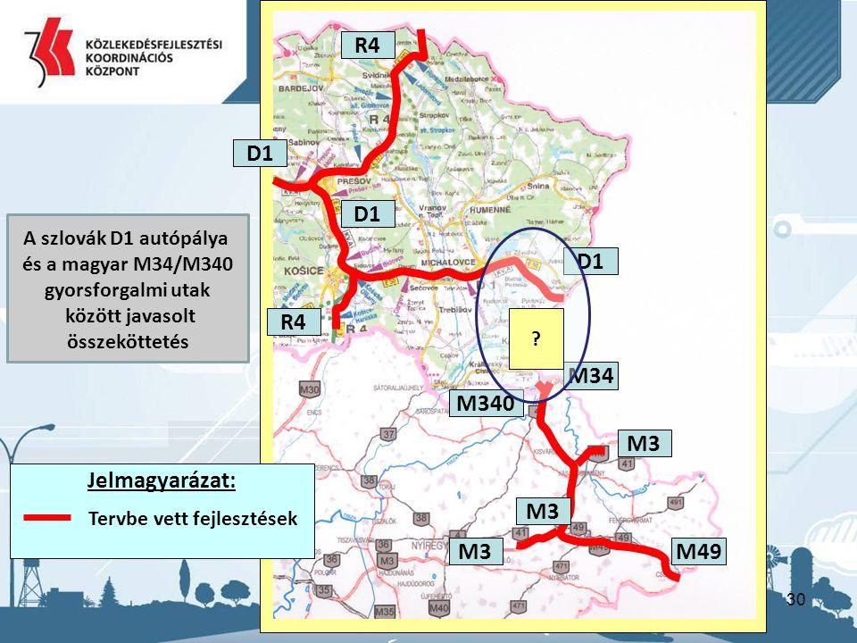 30 R4 M34 D1 M340 M3M49 R4 D1 M3 ? A szlovák D1 autópálya és a magyar M34/M340 gyorsforgalmi utak között javasolt összeköttetés Jelmagyarázat: Tervbe