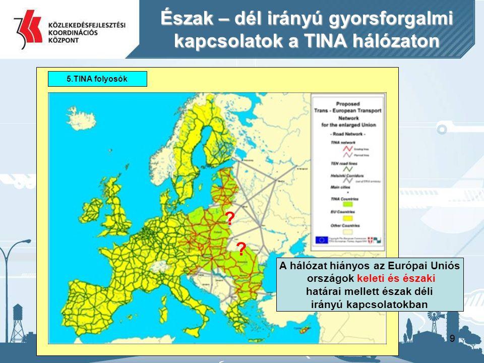 99 5.TINA folyosók Észak – dél irányú gyorsforgalmi kapcsolatok a TINA hálózaton A hálózat hiányos az Európai Uniós országok keleti és északi határai mellett észak déli irányú kapcsolatokban .
