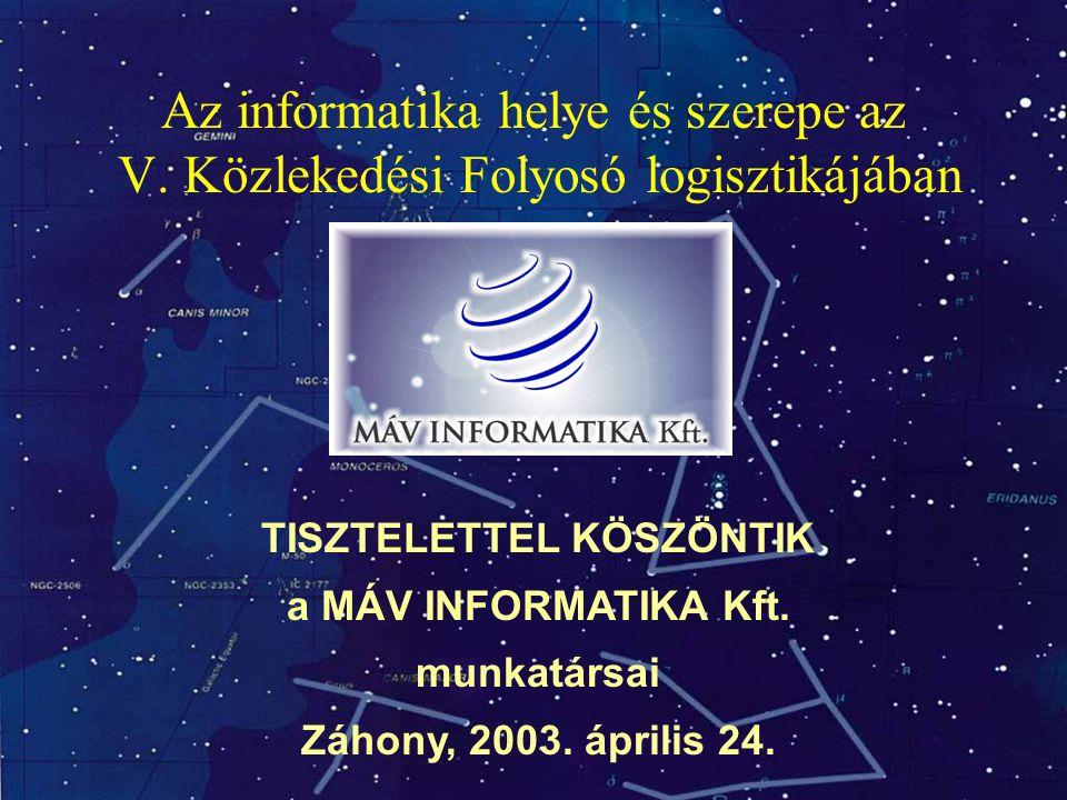 TISZTELETTEL KÖSZÖNTIK a MÁV INFORMATIKA Kft. munkatársai Záhony, 2003. április 24. Az informatika helye és szerepe az V. Közlekedési Folyosó logiszti