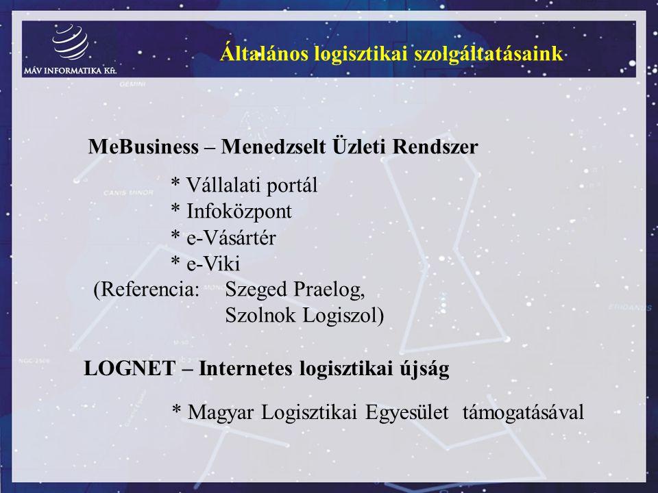 Általános logisztikai szolgáltatásaink MeBusiness – Menedzselt Üzleti Rendszer * Vállalati portál * Infoközpont * e-Vásártér * e-Viki LOGNET – Interne