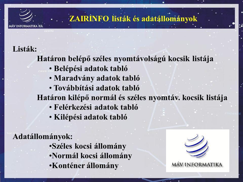 ZAIRINFO listák és adatállományok Listák: Határon belépő széles nyomtávolságú kocsik listája Belépési adatok tabló Maradvány adatok tabló Továbbítási