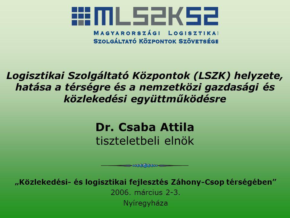 """""""Közlekedési- és logisztikai fejlesztés Záhony-Csop térségében"""" 2006. március 2-3. Nyíregyháza Logisztikai Szolgáltató Központok (LSZK) helyzete, hatá"""
