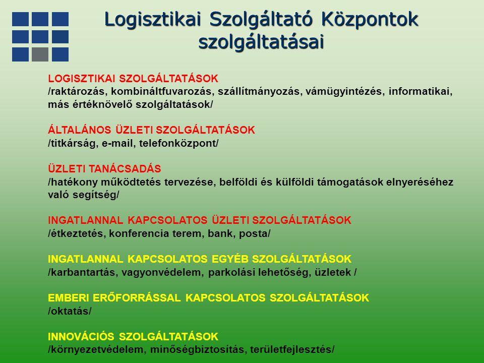 Logisztikai Szolgáltató Központok szolgáltatásai szolgáltatásai LOGISZTIKAI SZOLGÁLTATÁSOK /raktározás, kombináltfuvarozás, szállítmányozás, vámügyint