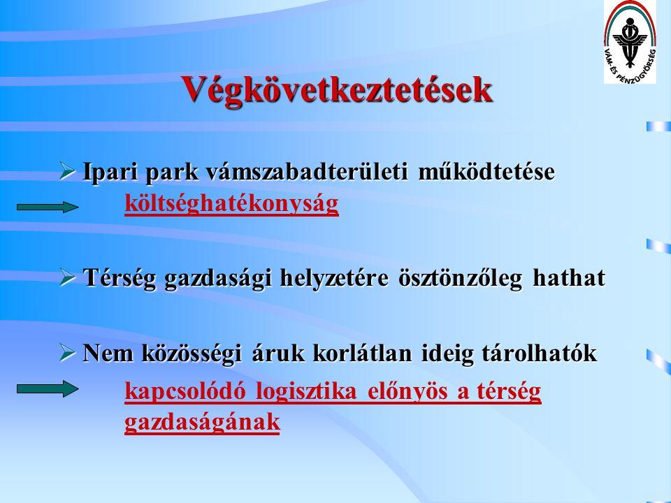 Végkövetkeztetések  Ipari park vámszabadterületi működtetése  Ipari park vámszabadterületi működtetése költséghatékonyság  Térség gazdasági helyzet