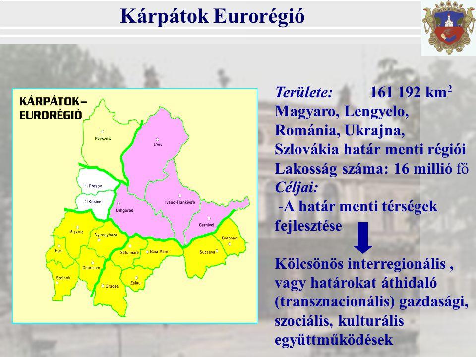 Kárpátok Eurorégió Területe:161 192 km 2 Magyaro, Lengyelo, Románia, Ukrajna, Szlovákia határ menti régiói Lakosság száma: 16 millió fő Céljai: -A határ menti térségek fejlesztése Kölcsönös interregionális, vagy határokat áthidaló (transznacionális) gazdasági, szociális, kulturális együttműködések