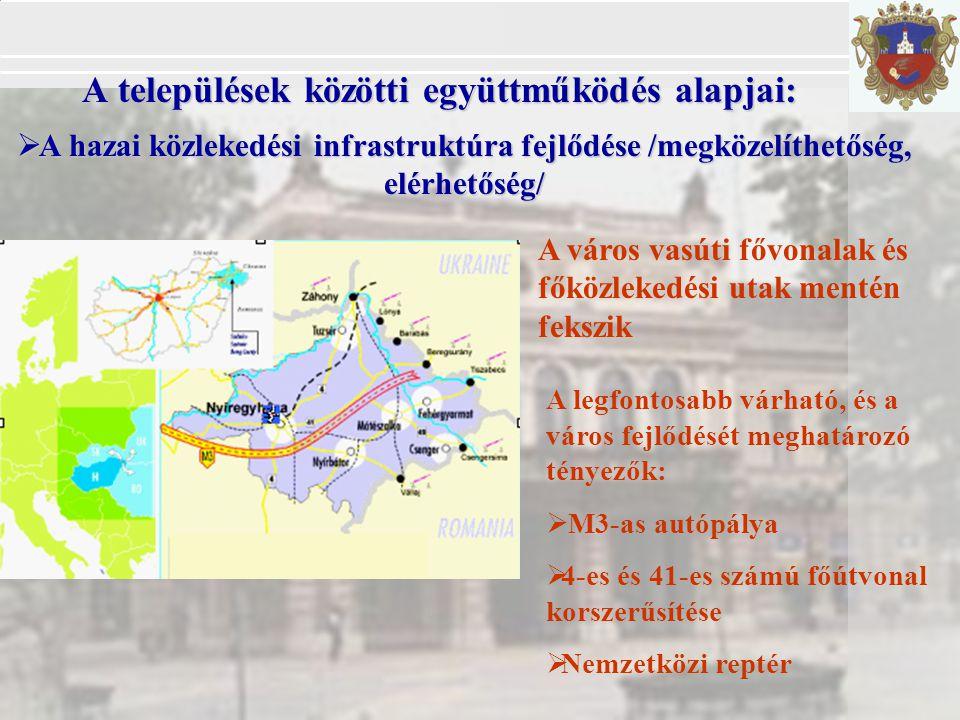  A hazai közlekedési infrastruktúra fejlődése /megközelíthetőség, elérhetőség/ A települések közötti együttműködés alapjai: A legfontosabb várható, és a város fejlődését meghatározó tényezők:  M3-as autópálya  4-es és 41-es számú főútvonal korszerűsítése  Nemzetközi reptér A város vasúti fővonalak és főközlekedési utak mentén fekszik