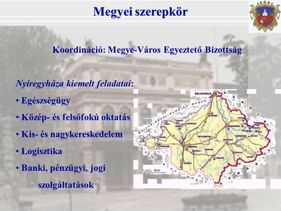 Megyei szerepkör Koordináció: Megye-Város Egyeztető Bizottság Nyíregyháza kiemelt feladatai: Egészségügy Közép- és felsőfokú oktatás Kis- és nagykereskedelem Logisztika Banki, pénzügyi, jogi szolgáltatások